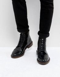 Walk London Darcy Hi Shine Leather Lace Up Boots - Black