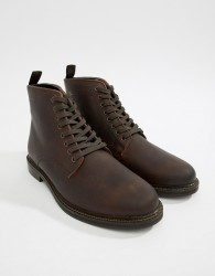 WALK London Darcy lace up boots in brown wax leather - Brown