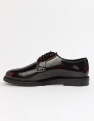 WALK London Darcy lace up shoes in high shine burgundy - Red