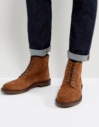 Walk London Darcy Suede Brogue Boots - Tan