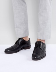 Walk London Florence Leather Brogue Shoes - Black