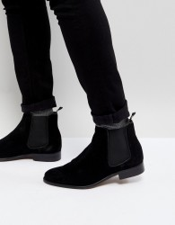 Walk London Harrington Suede Chelsea Boots in Black - Black