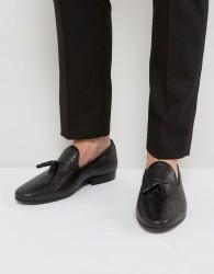 Walk London Harry Leather Tassel Loafers - Black
