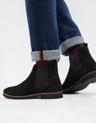 WALK London Hornchurch chelsea boots in black suede - Black