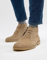 Walk London Hornchurch Suede Desert Boots In Stone - Stone