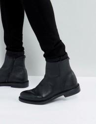 Walk London Leather Darcy Zip Boots - Black
