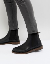 Walk London Leather Star Chelsea Boots - Black