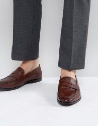 Walk London Raphael Leather Loafers In Brown - Brown