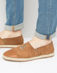 Walk London Riviera Embroidered Anchor Suede Espadrilles - Tan