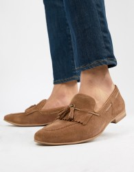 WALK London Rob tassel loafers in tan suede - Tan