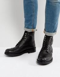 Walk London Sean Leather Brogue Boots - Black
