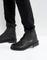 Walk London Sean Leather Lace Up Boots - Black