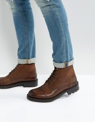 Walk London Sean Leather Lace Up Boots - Brown