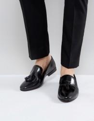 Walk London Strutt Hi Shine Tassel Loafers - Black