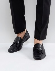 Walk London Tassel Leather Loafers In Black - Brown
