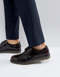 Walk London Timmy Chunky Brogue Shoes - Red
