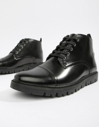 WALK London Timmy lace up boots in high shine black - Black