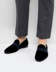 Walk London Velvet Strap Loafers - Black