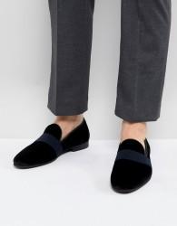 Walk London Velvet Strap Loafers - Black