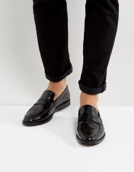 Walk London West Leather Penny Loafers - Black