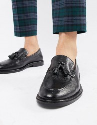 WALK London West tassel loafers in black milled leather - Black
