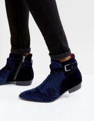 Walk London Ziggy Velvet Boots - Blue