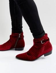Walk London Ziggy Velvet Boots - Red