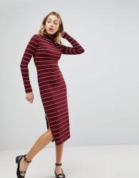 Walter Baker Carmella Stripe Roll Neck Midi Dress - Red