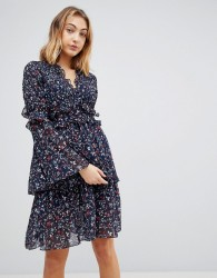 Walter Baker Dianna Floral Print Layered Dress - Navy