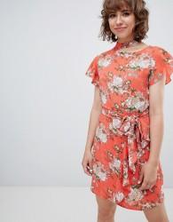 Walter Baker Frill Front Floral Print Tea Dress - Pink