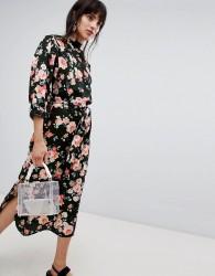 Walter Baker High Neck Floral Print Midi Shift Dress - Black