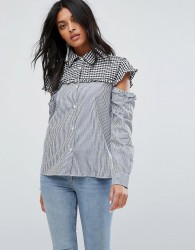 Walter Baker Marvin Cut Out Sleeve Gingham Stripe Shirt - Blue