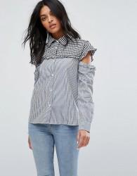 Walter Baker Marvin Cut Out Sleeve Gingham Stripe Shirt - Blue