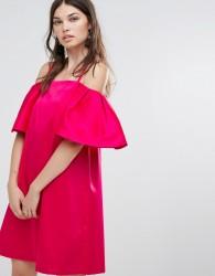 Warehouse Bardot Mini Dress - Pink