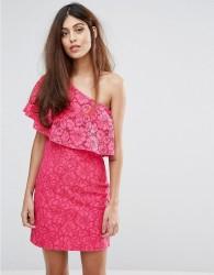 Warehouse Bonded Lace One Shoulder Dress - Pink