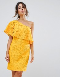 Warehouse Bonded Lace One Shoulder Dress - Yellow