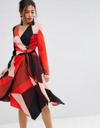 Warehouse Colourblock Wrap Dress - Multi