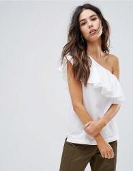 Warehouse Cotton Ruffle One Shoulder Top - White