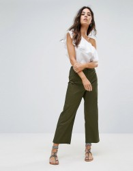 Warehouse Cropped Wide Leg Trousers - Green