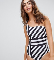 Warehouse Cutabout Stripe Swimsuit - White
