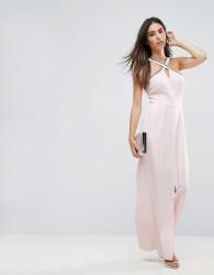 Warehouse Embellished Halter Neck Maxi Dress - Pink