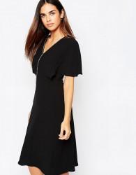Warehouse Embellished Trim A Line Dress - Black