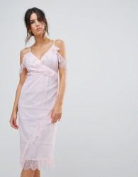 Warehouse Eyelash Cold Shoulder Dress - Pink