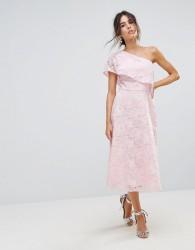 Warehouse Floral Lace One Shoulder Dress - Pink