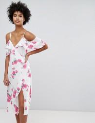 Warehouse Floral Print Cold Shoulder Wrap Dress - Cream