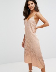 Warehouse Foil Dip Lace Slip Dress - Beige