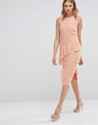 Warehouse Frill Front Dress - Orange