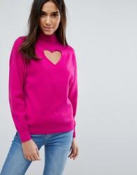 Warehouse Heart Cut Out Jumper - Pink