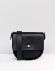 Warehouse Keyhole Saddle Across Body Bag - Black