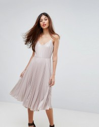 Warehouse Lame Pleated Cami Dress - Brown
